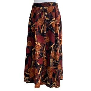 Vintage Fall Floral Made In Germany Midi Skirt